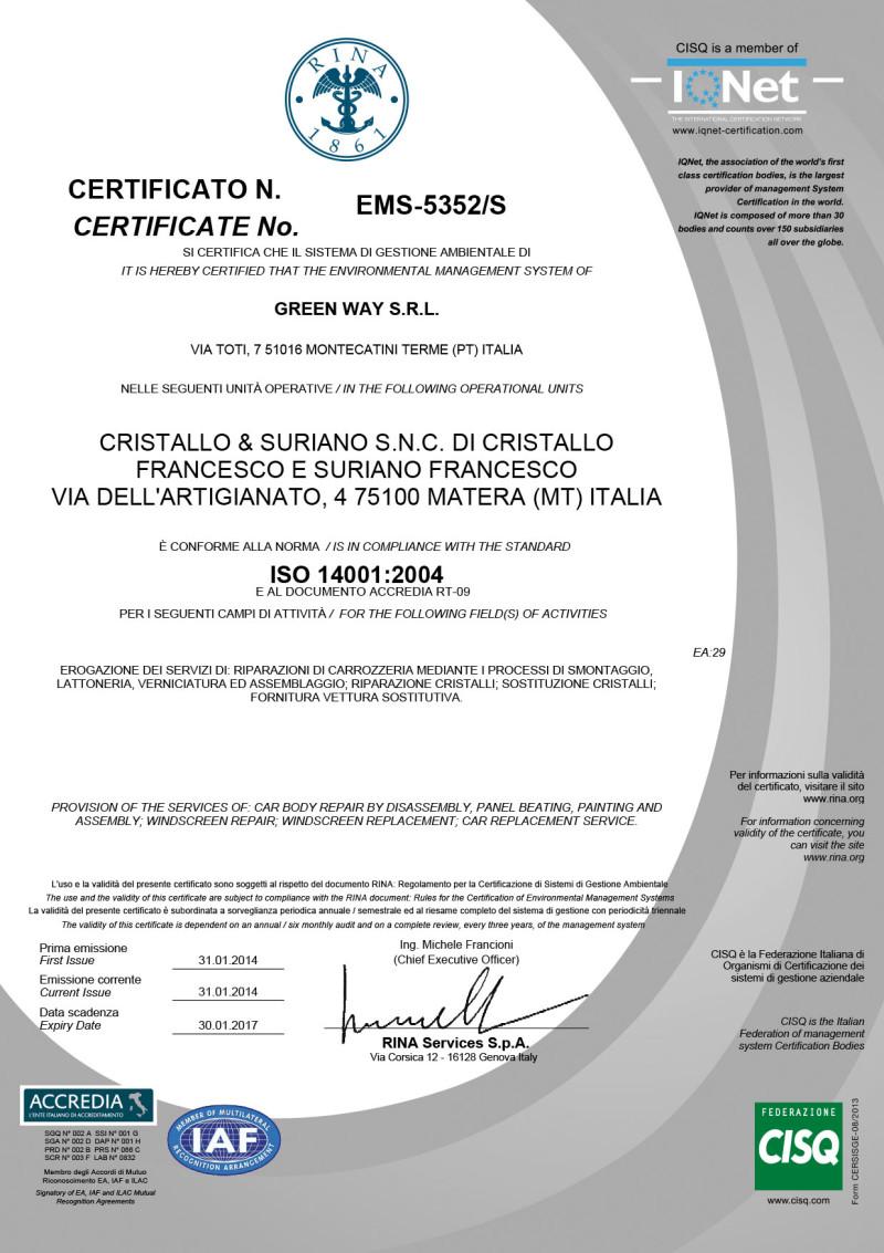 Certificato cristallo Iso 14001